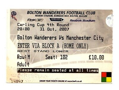 2007-2008 Ticket Bolton v Manchester City Carling Cup