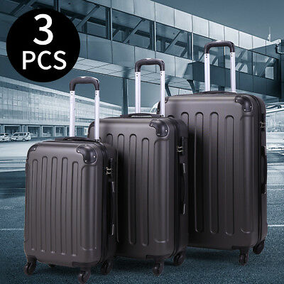 BHC 3 Pcs Luggage Coded Lock Travel Set Bag ABS+PC Trolley Suitcase Gray New