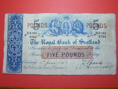 The Royal Bank of Scotland Five Pound Banknote 1st June 1931 VF