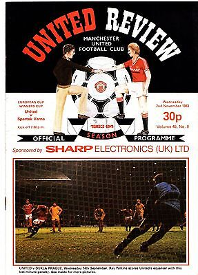 1983-1984 Manchester United v Spartak Varna European Cup Winners Cup POST FREE