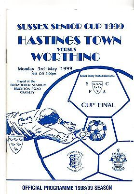1998-1999 Sussex Senior Cup final Hastings Town v Worthing @ Crawley POST FREE