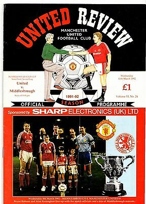 1991-1992 Manchester United v Middlesbrough League Cup Semi Final POST FREE