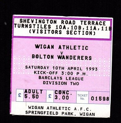 1992-1993 Wigan Athletic v Bolton Wanderers Ticket   POST FREE