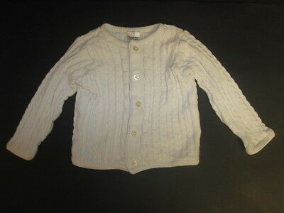 Hanna Andersson Girls 90 2 3 White Long Sleeve Cable Organic Cotton Cardigan