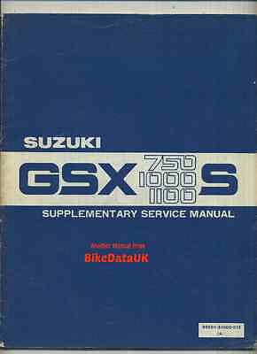 Suzuki Katana (1982) Supplementary Factory Shop Manual GSX 1100 1000 750 S Z KAT