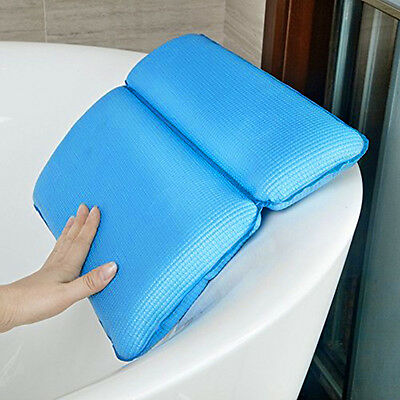 Blue Bath Spa Pillow Nonslip Soft Back Neck Support Cushion With Suction Cups