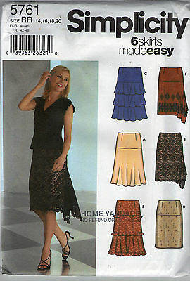 Simplicity ladies easy skirts with no waistband pattern UNCUT Sz 14-20 #5761