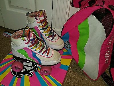 Rio Roller Classic Disco Roller Skates Candi - UK3 and bag and box