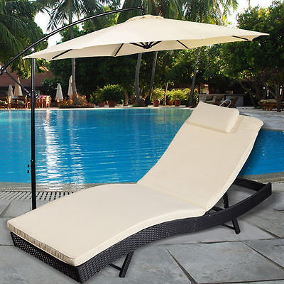 Adjustable Pool Chaise Lounge Chair Outdoor Patio Furniture PE qwc