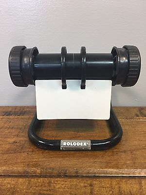 Vintage Rolodex 5024X Rotary Card File Mid-Century Office Black 50 Cards
