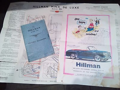 Hillman Minx Fold Out Brochure Instruction  Handbook
