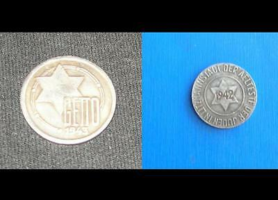 SET of 2 GHETTO Currency 1943 1942  WW2 Germany Poland Jewish Getto  COIN Medal