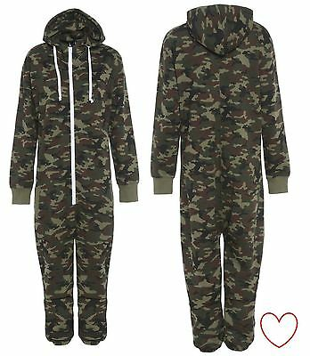 Childrens Onesie All In One Camouflage Camo Pyjamas Pajama Combat Nightwear