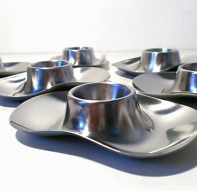 50s 6x WMF Wilhelm Wagenfeld Eierbecher set of egg cup stainless steel annees 50