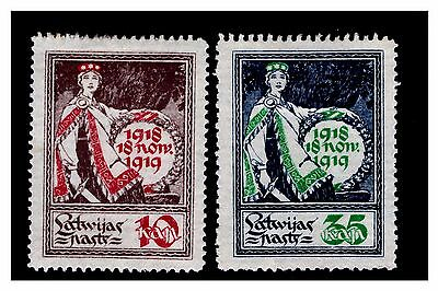 Latvia 1919 1st Anniversary of Independence Stamps. Mounted.  {#674}