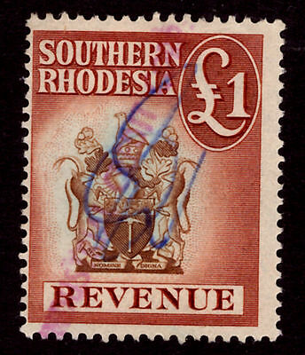 Southern Rhodesia £1 Revenue Stamp. 1954. Used  {#1057}