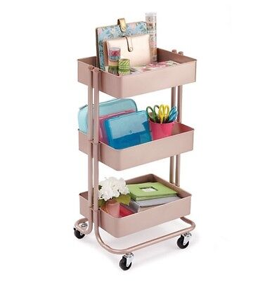 NEW Rose Gold Michaels Rolling Craft Storage Utility Metal Cart By Recollections
