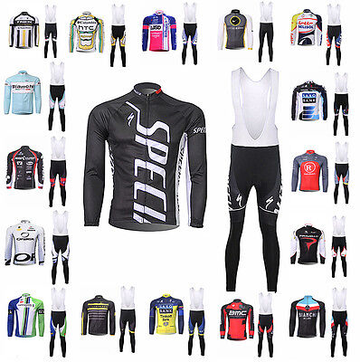 2017 style New Bib Pants Padded Sports Long Sleeve Suit Bike Cycling Racing Sets