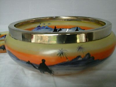 Vintage hand painted glass bowl unusual design desert scene with camals