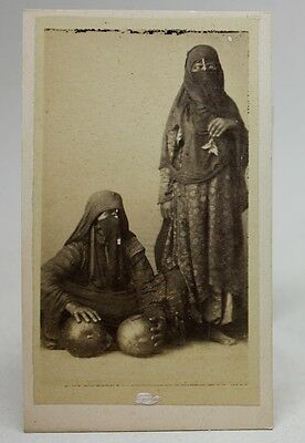ANTIQUE 1870/80's PHOTO CDV Albumen CAIRO EGYPT/ ARAB WOMEN COSTUMES w/ FRUIT