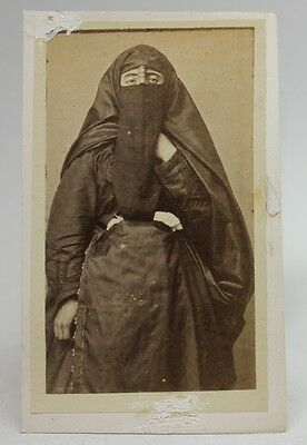 ANTIQUE 1870/80's PHOTO CDV Albumen CAIRO EGYPT/ ARAB WOMAN TRADITIONAL COSTUME