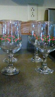 Set of 4 Long John Silvers Holiday Christmas Holly & Berries  Wine Stem Glasses