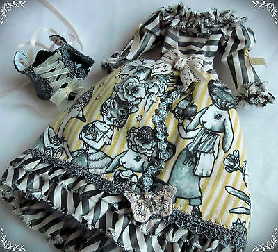 Yellow Stripe Steampunk Dress silk and cotton with Black Corset for Blythe doll