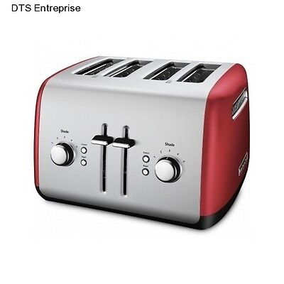 Extra Wide Toaster Breakfast Bagel Pastry Thick Food Kitchen Lift Red Modern