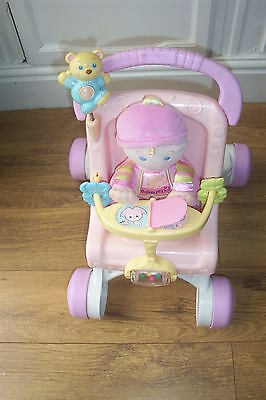 fisherprice pram & doll musical  sturdy walker pram pushchair