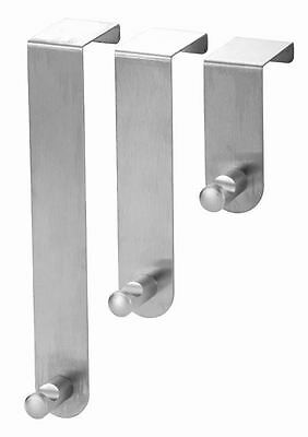 3 x Blue Canyon Stainless Steel Over Door Clothes Towel Robe Gown Hat Hooks