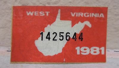 1981 WEST VIRGINIA license plate registration yom sticker for the 1981 plates