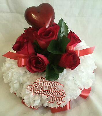 Artificial Silk Funeral Flower Posy Tribute Memorial Red Rose Love You Floral