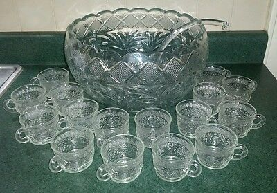 L.E. Smith Glass Clear, Flowers, Leaves, Punch Bowl, Ladle & 16 Cups Set