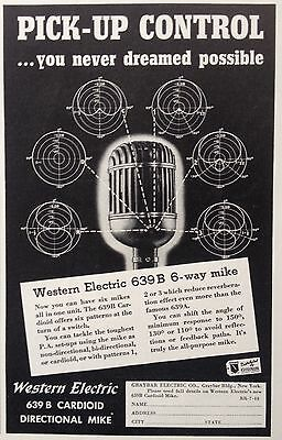 Vintage 1940 Ad{V16}~Western Electric 639B Directional Microphone