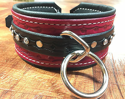 Hand made stamped leather Collar choker restraint,bondage choose color crystals