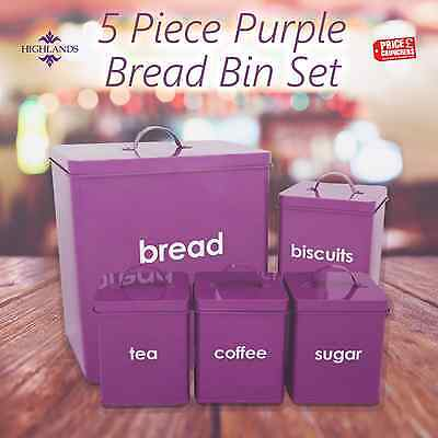 Purple Kitchen Canisters Set Bread Bin Tea Coffee Sugar Biscuit 5 PC Storage Jar