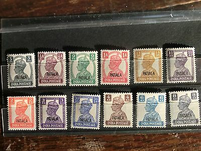 INDIA, PATIALA STATE     1940-43 SET OF 12 to 8as MH
