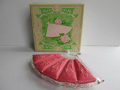 Vintage Avon Fan Shaped Glass Dish With Soaps In Original Box
