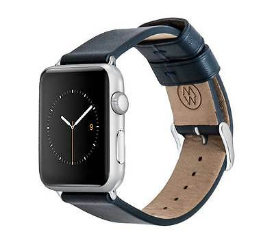 Monowear Blue Genuine Leather Band with Polished Silver Adapter for 38MM Apple W