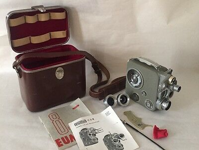 Beautiful Eumig C3 8mm movie camera with original assessories and leather case