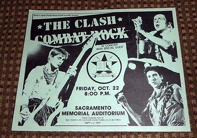 1980's The Clash Concert Handbill Poster Sacramento Memorial Light Green