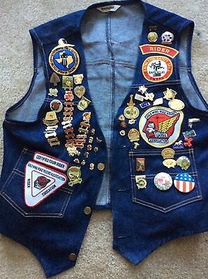 Vintage Remington Chapter M Texas Motorcycle Denim Vest With Patches and Pins