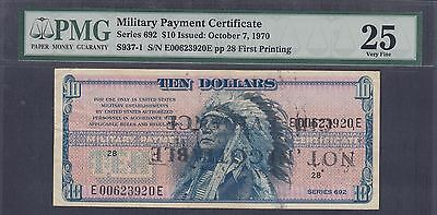 US Military Payment Certificates 10 Dollars Series 692 PMG VF 25