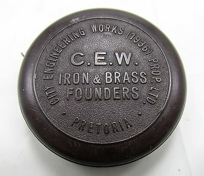 CITY ENGINEERING WORKS IRON BRASS 30s PRETORIA SOUTH AFRICA VINTAGE TAPE MEASURE