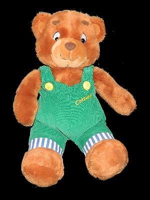 "Eden 16"" Corduroy Bear Plush Stuffed Animal Green Overalls 1996"