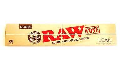 Raw Classic  Natural  Pre Rolled Cones - Lean size - 1 Pack ( 20 cones per Pack)