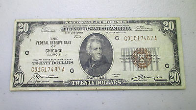 1929 $20 National Currency - Federal Reserve Bank of Chicago Illinois - Lot N232