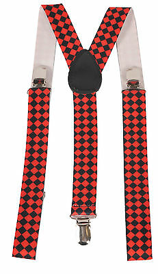 Fashion Diamond Checkerboard Suspenders By Dress Up America