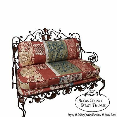 Custom Quality Ornate Wrought Iron Rococo Style Settee w/ Cushions