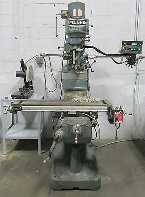 Pilgrim Bridgeport Style Mill with Shaper/Slotter Attachment DRO 2HP Power Feed